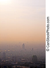 aerial view of Bangkok - view to the skyline and river of...