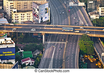aerial view of Bangkok - view to the skyline and streets of...