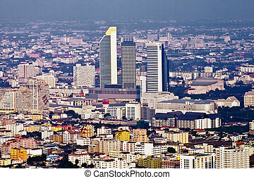 aerial view of Bangkok - view to the skyline of Bangkok from...