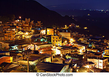 jiu fen village at night