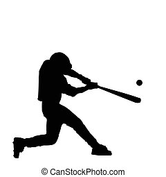 Baseball Batter Hitting Ball with Bat for Home Run