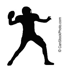 Silhouette American Football Quarterback Throw - Silhouette...