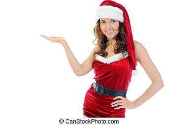 Christmas Smiling Woman - Christmas smiling woman in red...