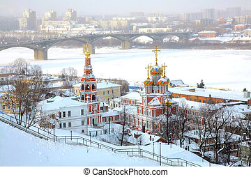Winter view of Stroganov Church in Nizhny Novgorod in Russia