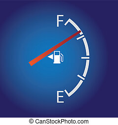 gas gauge isolated on a dark background.