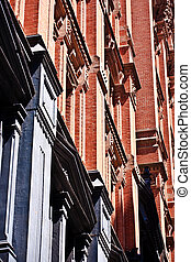 facade at old houses downtown in New York