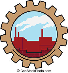 factory icon - factory with smoke in the sky icon
