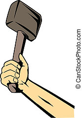 hand with hammer   - strong hand with hammer