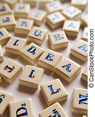 IDEA Scrabble - Idea, single word, text scrabble