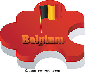 Vector illustration of puzzle with a flag of Belgium