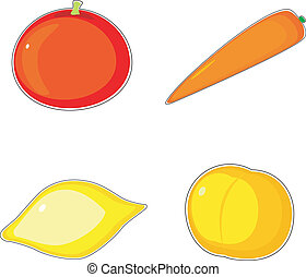 Collection of vector images fruit and vegetables
