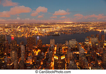 New York by night from Empire State Building