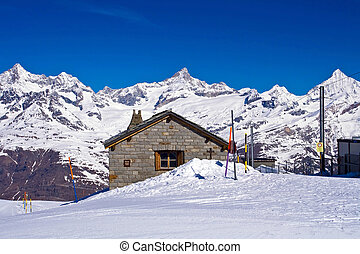 Brick house at Matterhorn Alps,Gornergrat Switzerland