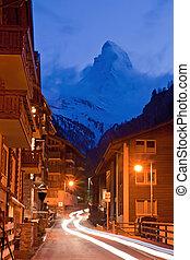Matterhorn Peak with Light trail from Zermatt City,...
