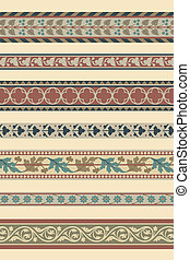 Set of seven decorative borders
