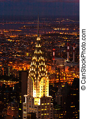 Aerial panoramic view over upper Manhattan from Empire State...