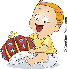 Baby Crown - Illustration of a Cute Kid Playing with a Crown