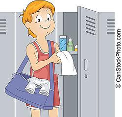 Locker Room - Illustration of an Athlete in a Locker Room