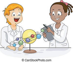 Solar System Model - Illustration of Kids Studying a Solar...