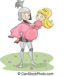 Knight and Princess - Illustration of a Knight Carrying a...