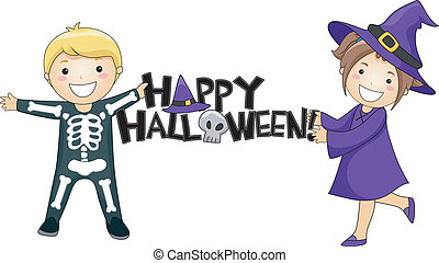 Happy Halloween - Illustration of Kids Giving a Halloween...