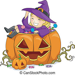 Pumpkin Girl - Illustration of a Girl on Pumpkin
