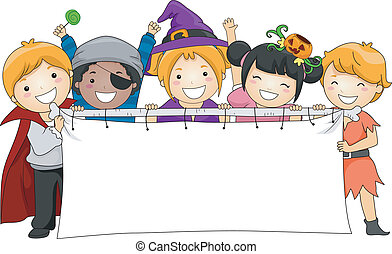 Halloween Banner - Illustration of Kids Holding a Blank...