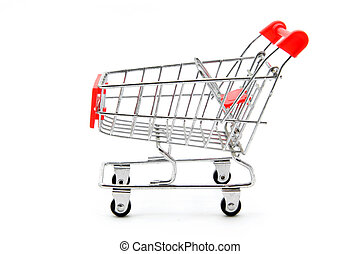 empty shopping cart - isolated empty shopping cart on white...
