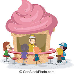 Ice Cream Stall - Illustration of Kids Gathered Around an...