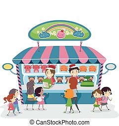 Souvenirs - Illustration of Kids Buying Souvenirs from a Toy...