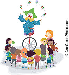 Unicycle Clown - Illustration of a Clown Riding a Unicyle