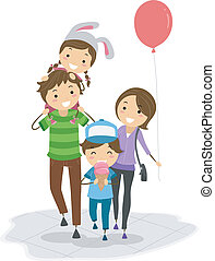 Theme Park - Illustration of a Family in a Theme Park