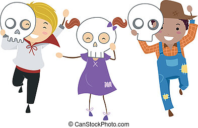 Halloween Mask - Illustration of Kids Wearing Halloween...
