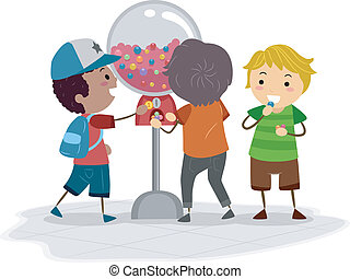 Vending Machine - Illustration of Kids Using a Vending...