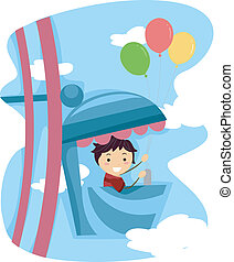 Ferris Wheel Kid - Illustration of a Kid Riding a Ferris...