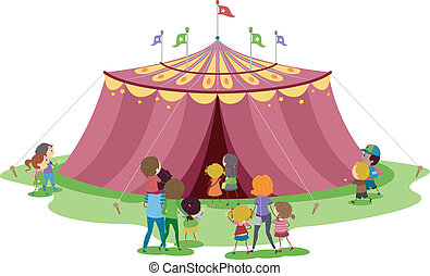 Circus Tent - Illustration of Families About to Go Inside a...