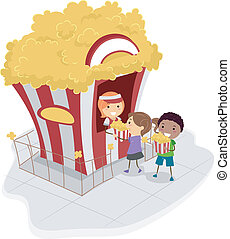 Popcorn Stand - Illustration of Kids Buying Popcorn