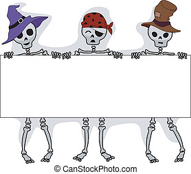 Halloween Board - Illustration of Skeletons Holding a Long...