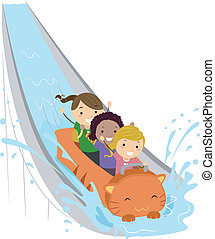 Water Ride - Illustration of Kids Enjoying a Water Ride