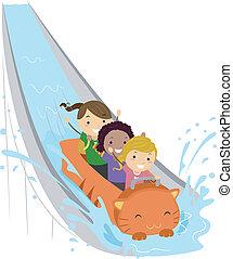 Water Ride - Illustration of Kids Enjoying a Water Ride