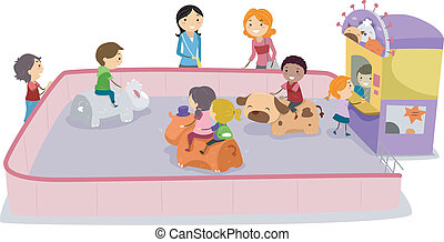 Bump Ride - Illustration of Kids Playing Bump Ride
