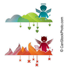 Angel on heaven and devil in hell - concepts vector...