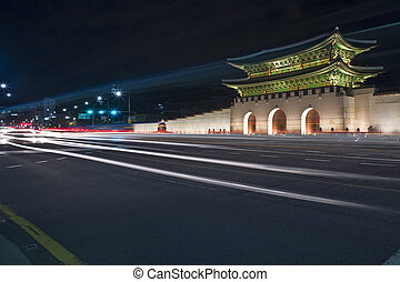 Gyeongbokgung Gates at night Seoul, South Korea