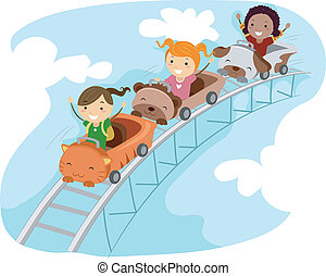 Roller Coaster Ride - Illustration of Kids Riding a...