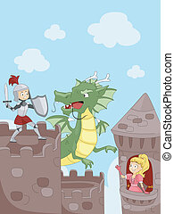 Knight Fighting a Dragon - Illustration of a Knight Fighting...