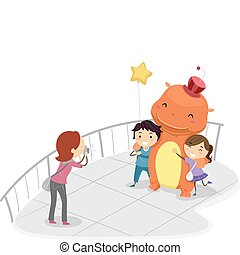 Mascot Picture - Illustration of Kids Having Their Pictures...