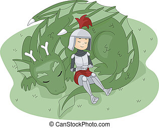 Knight and Dragon - Illustration of a Knight Leaning Against...