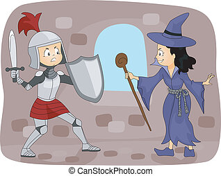 Knight Fighting a Witch - Illustration of a Knight Fighting...