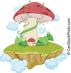 Mushroom Island - Illustration of an Island Made From...