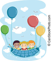 Balloon Ride - Illustration of Kids Being Carried Away by...